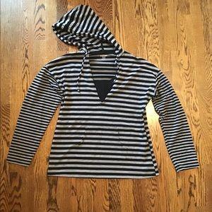 Black and Gray Striped Nursing Hoodie